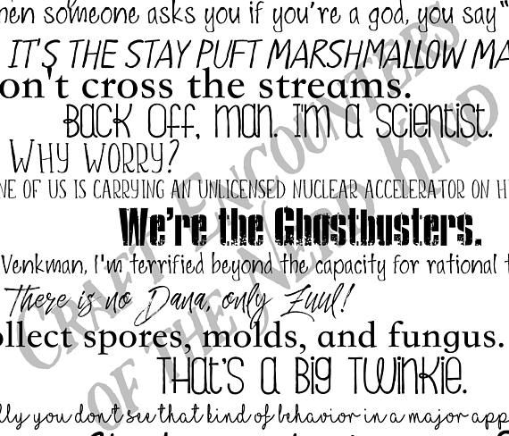 Ghostbusters movie quote pillow cover - 18x18inch pillow cover - eco inks - fathers day - under 50 - movie quotes - fiber arts These movie quote pillows are great for any filmophile! Give them as a gift or keep them for yourself, but no matter what, they're sure to be a conversation