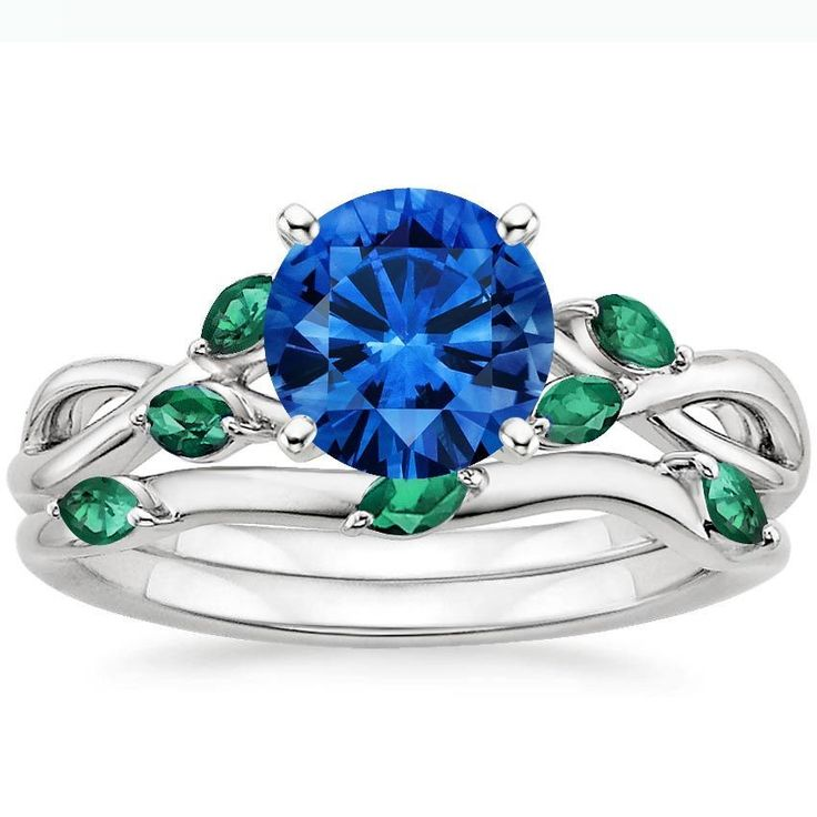 18K White Gold Sapphire Willow Matched Set With Lab Emerald Accents, top view