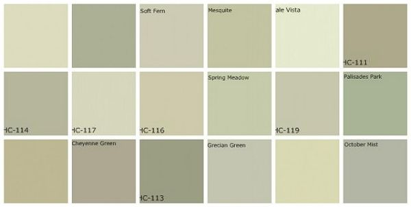 Gray Green Paint: Designers' Favorite Colors Top row, left to right: 1. Farrow & Ball Lime White, 2. Farrow & Ball Vert de Terre, 3. Benjamin Moore Soft Fern, 4. Benjamin Moore Mesquite, 5. Benjamin Moore Pale Vista, 6. Benjamin Moore Nantucket Gray. Middle row, left to right: 7. Benjamin Moore Saybrook Sage, 8. Benjamin Moore Hancock Green, 9. Benjamin Moore Guilford Green, 10. Benjamin Moore Spring Meadow, 11. Benjamin Moore Kittery Point Green, 12. Benjamin Moore Palisades Park. B... by…