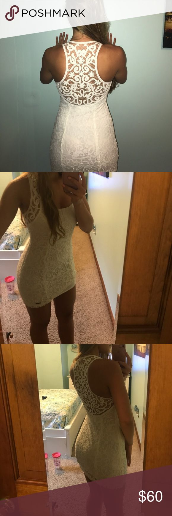 Lace hollister dress size 2 WORN ONCE for engagement photo. Perfect condition. Dress is size 2 but I think it fits more like a 0. So sad to let this go but it's too snug on me! Please make me an offer!!! Hollister Dresses Mini