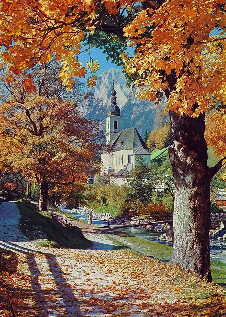 St. Sebastian Church in Autumn. Ramsau, Germany