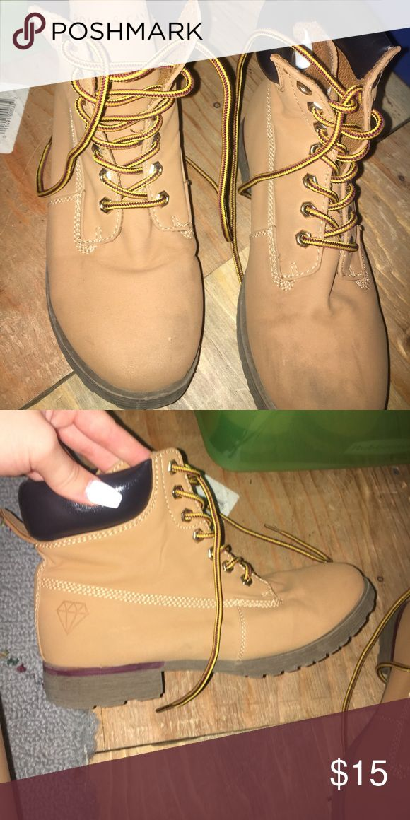 FAKE TIMBERLAND look alike boots Lightly worn. Comfy and slim to the ankle. rock & candy Shoes Combat & Moto Boots