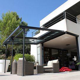 Tonnelle adossée L 400 x P 350 x H 270 cm - Structure en aluminium - Toit en polycarbonate