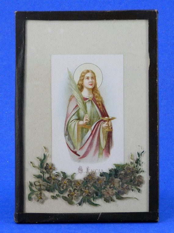 st lucia saint lucy vintage framed litho religious holy. Black Bedroom Furniture Sets. Home Design Ideas