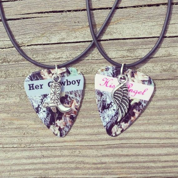 Her Cowboy boot His Angel wing silver charm guitar pick matching necklaces for country couples by Featherpick  Makes a great Valentine's gift for your husband girlfriend wife or boyfriend