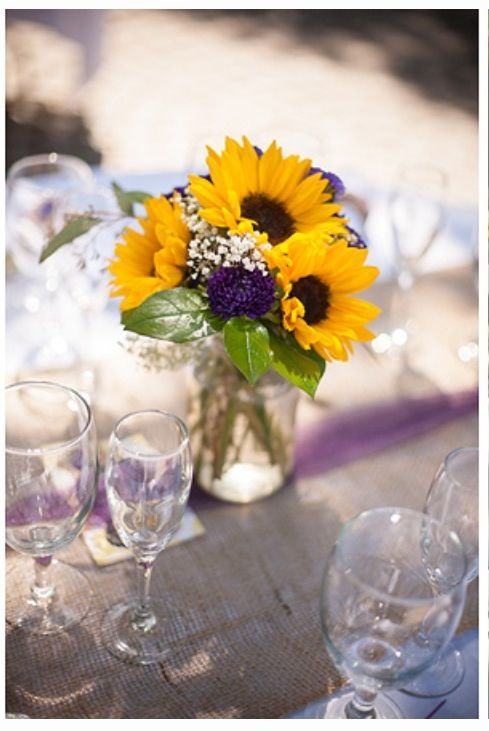 Sunflower and mason jar centerpieces grad party ideas