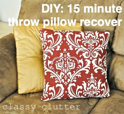 Recover a throw pillow in 15 minutes (or less!) - this tutorial is for a pillow case where the back pieces overlap so that you can remove the pillow if you need to.