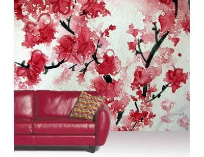 "Mural ""Cherry Blossom Aquarelle"". A wall mural from Muralunique.com. https://www.muralunique.com/cherry-blossom-aquarelle-105-x-8-320m-x-244m.html"