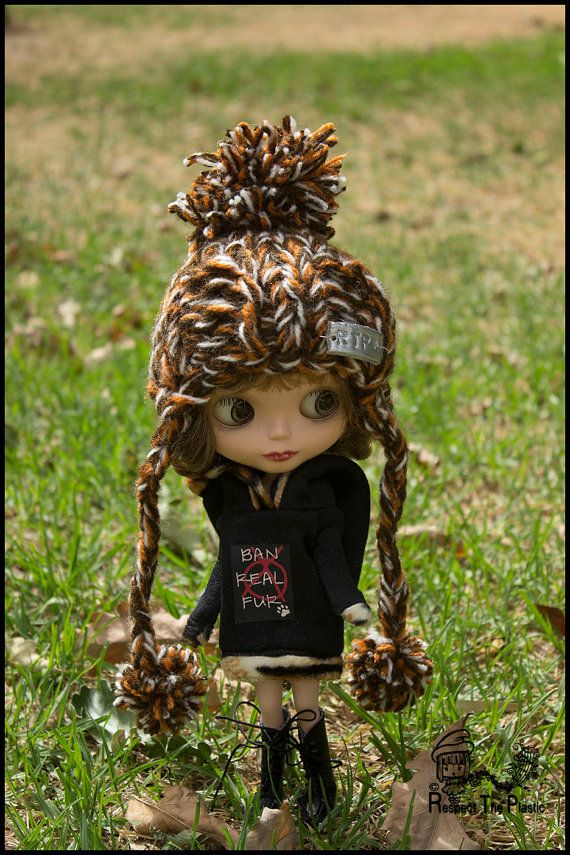 Bush  Off to Margs  Beanie/Hat for Blythe by minni64 on Etsy, $25.00