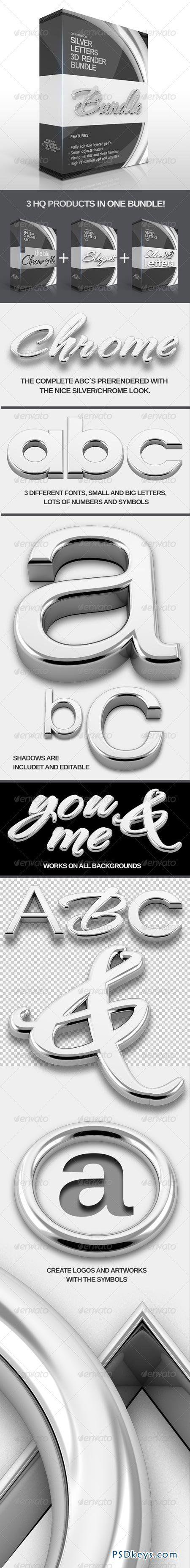 Silver Letters 3D Bundle 6533365