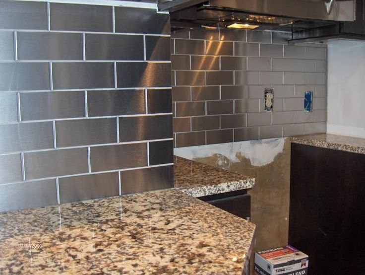 Stainless steel subway tile backsplash for the home Kitchen backsplash ideas stainless steel