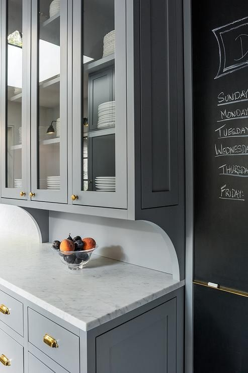 Cabinets painted Benjamin Moore Deep Silver and chalkboard on slate pantry door