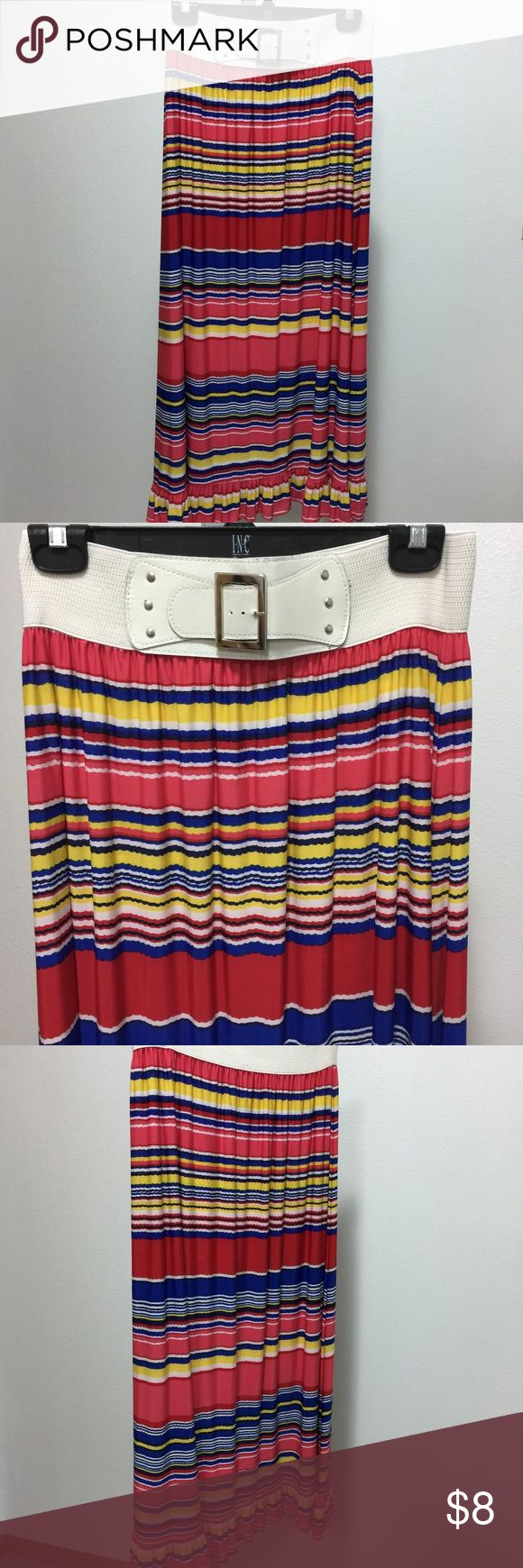 Magic Striped Long Skirt with Built In Belt Sz XL Magic  Size XL  Long skirt with red, white, blue and yellow stripes. Wide elastic waist band with faux belt. Bottom hem is ruffled.  No material tag, but feels like polyester spandex blend. Skirt has some stretch.  Very nice used condition.  Measurements:  waist: 13 There is of stretch due to elastic waist  length: 36  p125 Magic Skirts Maxi