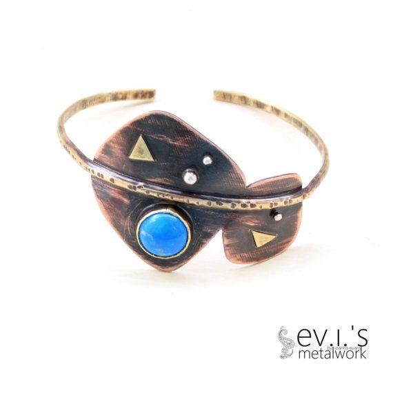 Mix Metal Blue Howlite Bracelet Cuff Brass Copper by evismetalwork, €34.00