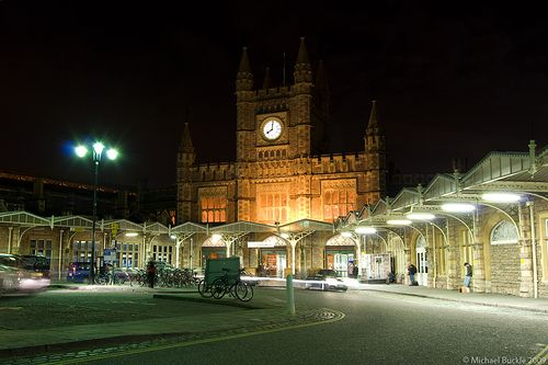 Temple Meads at night, Bristol, UK