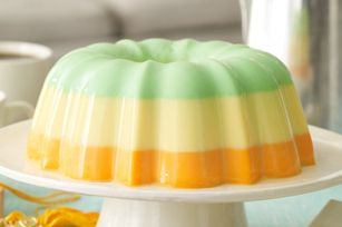 Creamy Triple-Citrus Gelatin Dessert recipe. You can substitute your favorite jello flavors.
