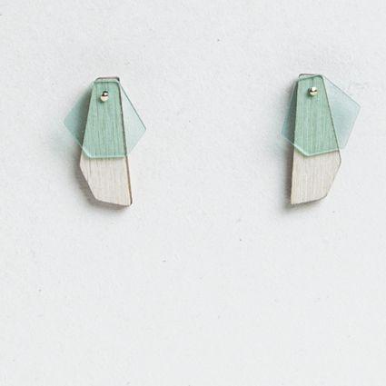Turina Earrings Mint. Wood and plexiglass