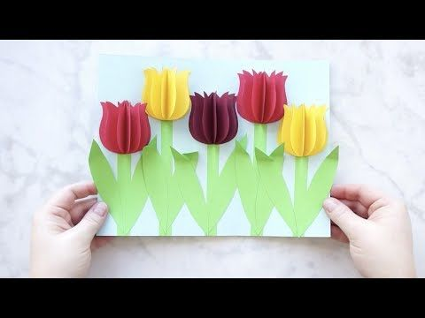 Gorgeous 3d Paper Tulip Flower Craft Pop Up Cards Flower Crafts