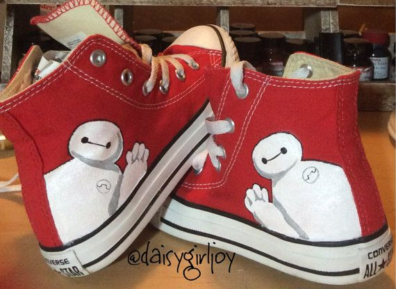 Custom Hand Painted Disney Big Hero 6 Baymax Children's Hi top Converse