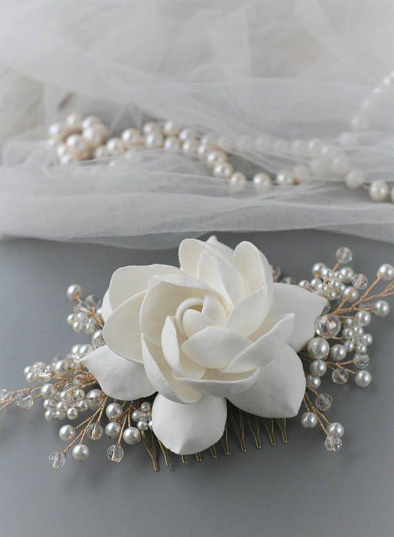 Gardenia Wedding Hair Comb Flower Bridal Hair Comb Wedding Etsy Flower Hair Accessories Wedding Flower Hair Accessories Flower Headpiece Wedding