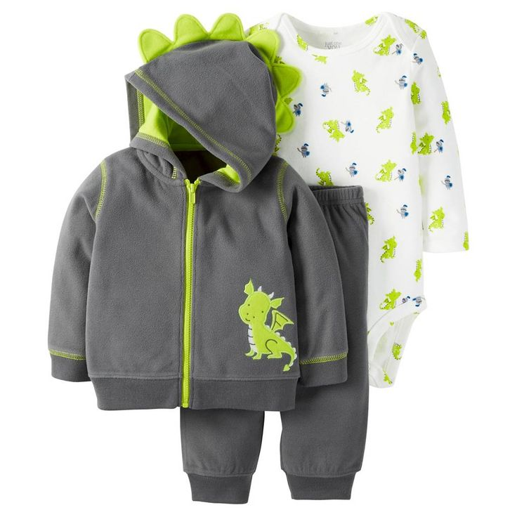 Just One You™Made by Carter's® Baby Boys' 3 Piece Dragon Set - Navy/Lime. Image 1 of 2.