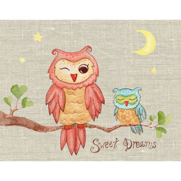 Sweet Dreams Baby Owl Wall Art by The Little Acorn Baby Owl drifts sweetly off to sleep as mama whispers sweet dreams. Originally handpainted by Bridget Kelly. A timeless and endearing expression for