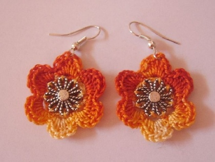 Cercei floare: De Fonalvaraz, Crochet Flower, Crocheted Flowers, Diametrul Floarei, Cercei Floar, Fonalvaraz Cdbs, Cercei Crosetati, Floar De, Flower Earrings