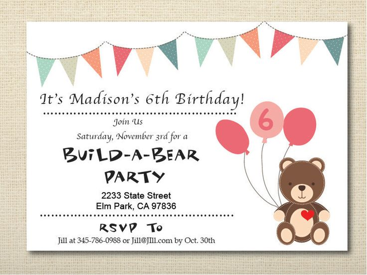 13 best 7 party images on pinterest 4 years babies and birthdays build a bear teddy bear birthday invitation by abbijodesigns on etsy filmwisefo Images