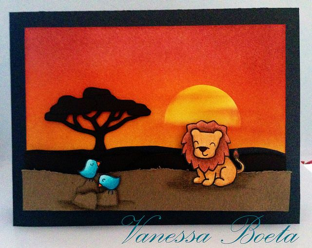 Lawn Fawn - Critters on the Savanna _ gorgeous silhouette sunset background on this beautiful card by Vanessa via Flickr - Photo Sharing!