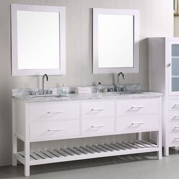 "Design Element Design Element London 72"" Double Sink Vanity Set"