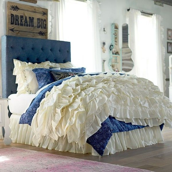 PB Teen Junk Gypsy Blue Jean Headboard, Full at Pottery Barn Teen -... ($509) ❤ liked on Polyvore featuring home, furniture, beds, blue bed, pbteen beds, twin head board, twin headboard and pbteen furniture