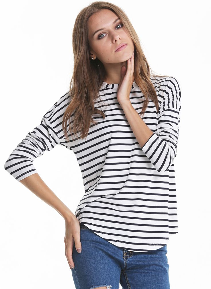 Shop White Black Long Sleeve Striped Loose T-Shirt online. Sheinside offers White Black Long Sleeve Striped Loose T-Shirt & more to fit your fashionable needs. Free Shipping Worldwide!