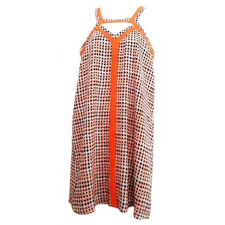 Orange Geometric Strapped Dress