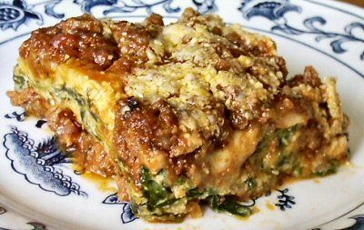 SPINACH LASAGNA with almost no carbs!   Makes 6-9 servings  Can be frozen    Per 1/6 Recipe: 368 Calories; 28g Fat; 23g Protein; 5.5g Carbohydrate; 2g Dietary Fiber; 3.5g Net Carbs
