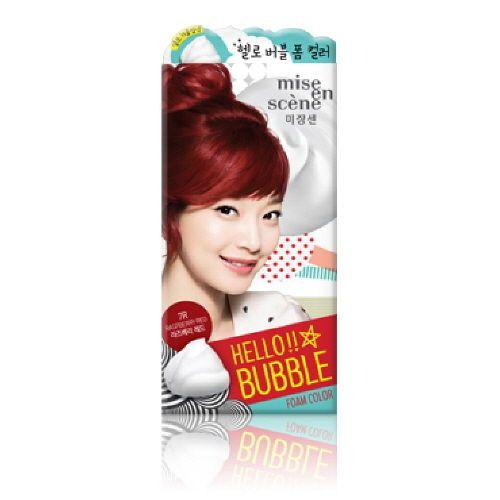 Mise-En-Scene Hello Bubbles Foam Hair Color 7R Raspberry Red Self Dye Korea New #MiseEnScene