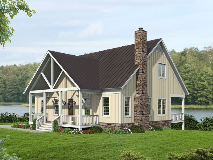 062h 0271 Two Story Waterfront House Plan In 2021 Country Style House Plans Garage Floor Plans Country House Plans