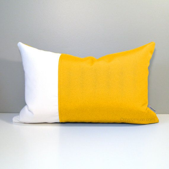 Decorative Yellow U0026 White Outdoor Sunbrella Pillow Cover, Modern Color  Block Pillow Cover, Yellow Cushion Cover, Sunflower Yellow