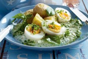 Eier mit grüner Joghurtsoße Rezept