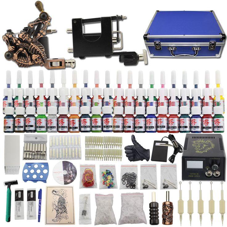 Tätowierung Komplett Set 2 TattooMaschine Koffer 40 Farben Netzgerät 50 Nadeln