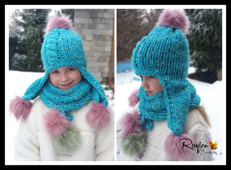 Complete knitting hat, scarf for girls for the winter months