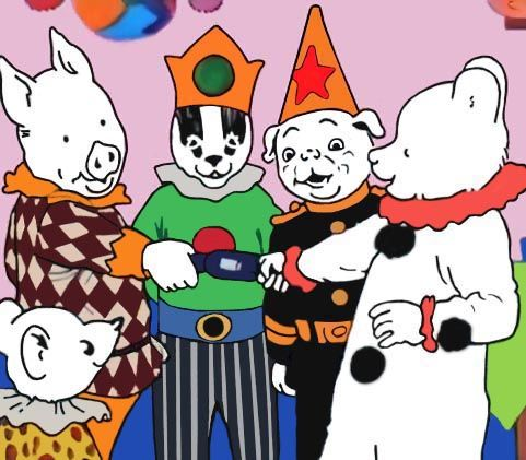 Rupert Bear and friends have a fancy dress party