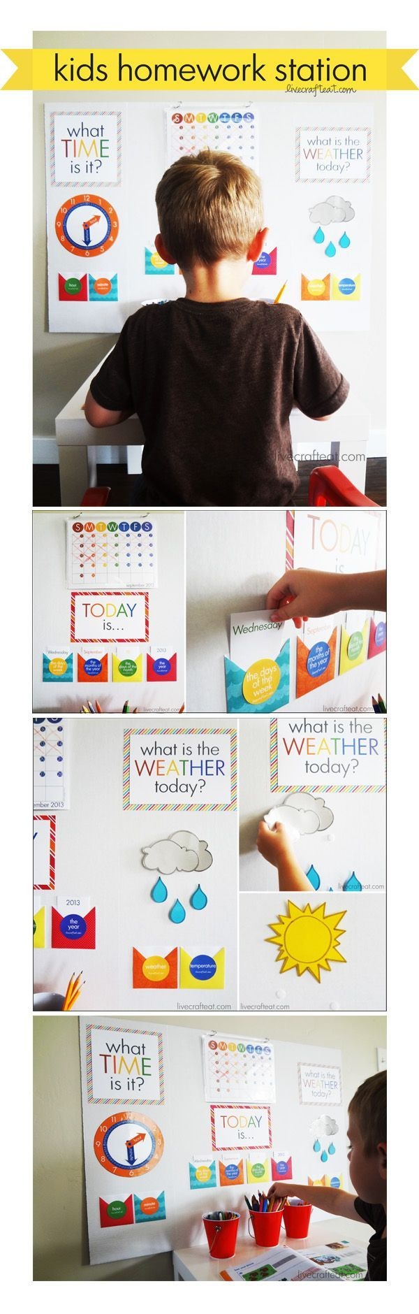 a diy homework station - help your kid focus on his schoolwork in addition to teaching him how to tell time, the calendar, and identify different types of weather. and don't forget the free printables so you can make your own!! :)   www.livecrafteat.com