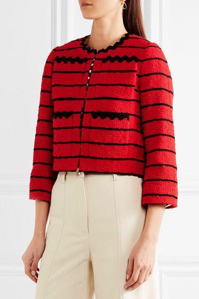 Sonia Rykiel - Striped Cotton-blend Bouclé-tweed Jacket - Red - FR34