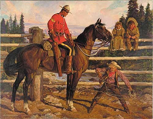 """Rope Trick""  by Arnold Friberg (1913-   )  The RCMP commissioned Friberg to capture the history of the police force."