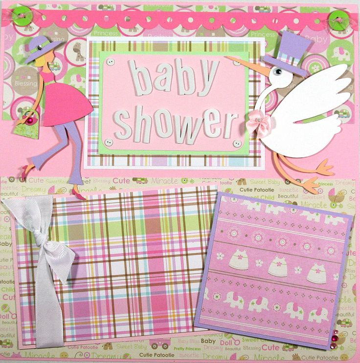 12 x 12 Premade Scrapbook Layout Baby Shower -- New Mom -- Pregnant -- Expecting -- Baby Girl. $32.99, via Etsy.