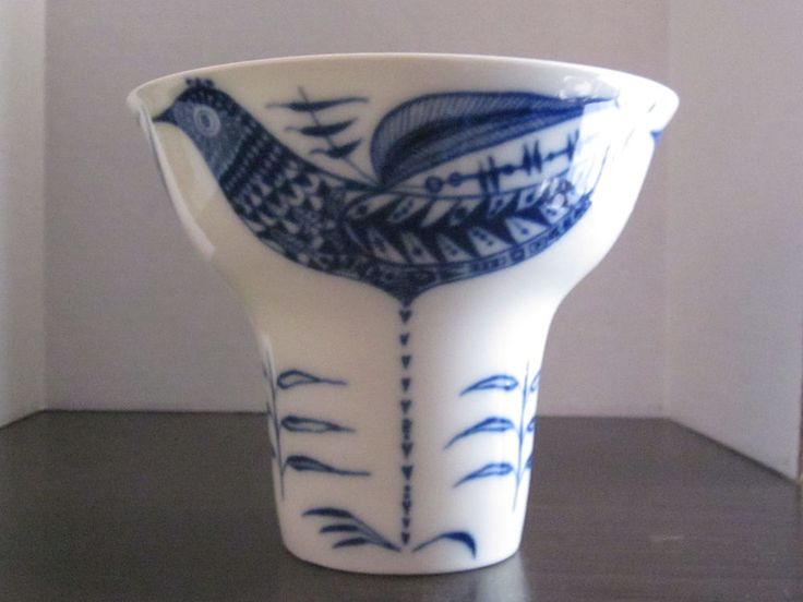 Porsgrund Porcelain Blue & White Vase Hand Painted Birds,Norway 1967