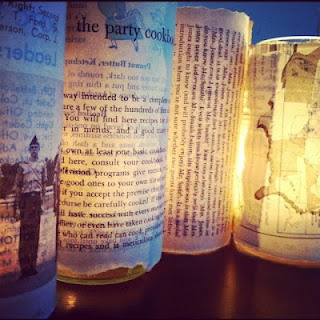 DIY Candleholders Made From Old Book Pages