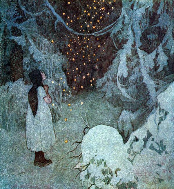 """The Little Stars of Gold. Illustration by Artuš Scheiner from """"The Disobedient Kids"""" by Božena Němcová (1921)"""