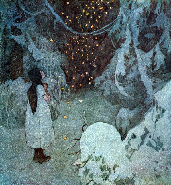 "The Little Stars of Gold. Illustration by Artuš Scheiner from ""The Disobedient Kids"" by Božena Němcová (1921)"