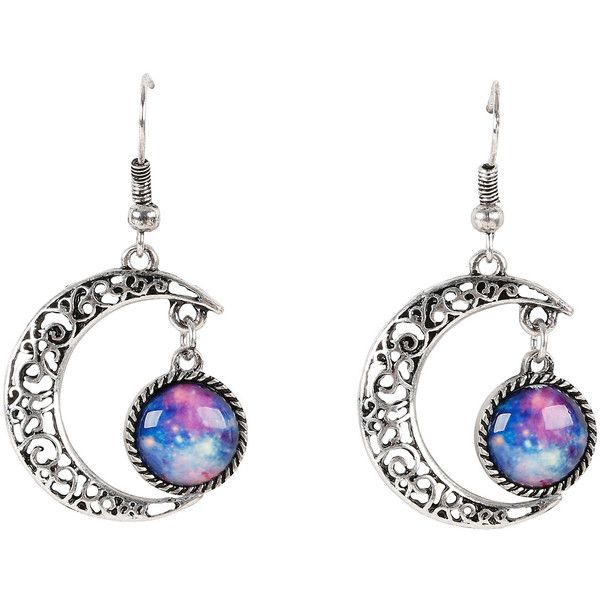 Silver Moon Galaxy Drop Earrings Hot Topic (£4.16) ❤ liked on Polyvore featuring jewelry, earrings, drop earrings, silver tone earrings, silver earrings, silver fish hook earrings and cosmic jewelry